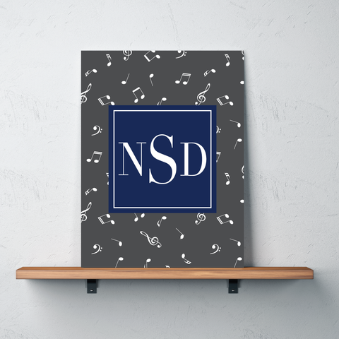 Music Note Custom Gallery Wrapped Canvas with Personalized Monogram for Girls and Boys- Teen Gift for Musicians - Instrument Player and Singer Bedroom Decor - White, Charcoal Grey, Navy Blue