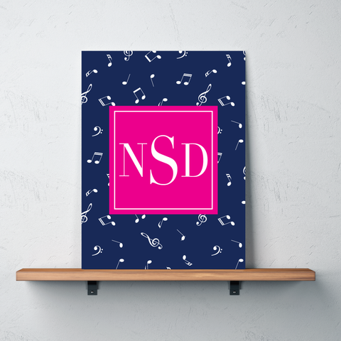 Music Note Custom Gallery Wrapped Canvas with Personalized Monogram for Girls and Boys- Teen Gift for Musicians - Instrument Player and Singer Bedroom Decor - White, Navy Blue, Hot Pink
