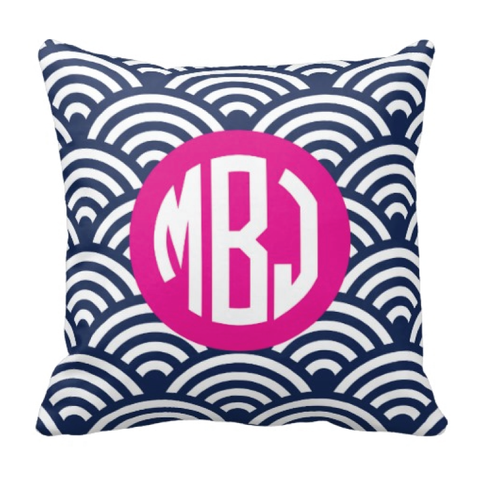 Scallop Patterned Throw Pillow with Circle Monogram for Girls - Swimmer - Swimming - Swim Team - Preppy Sports Gift for Teens and Kids - White, Navy Blue, Hot Pink