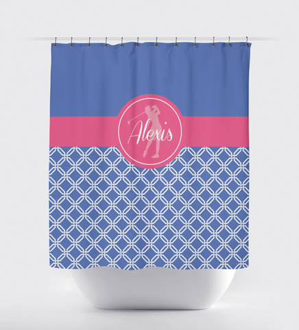 Golf Shower Curtain - Preppy Octagon Chain Pattern - Girls, Teens, Kids - Girls Golf Team Gift - Golf Themed Bathroom Decor for Female Golfers - White, Periwinkle Blue, Bubble Gum Pink
