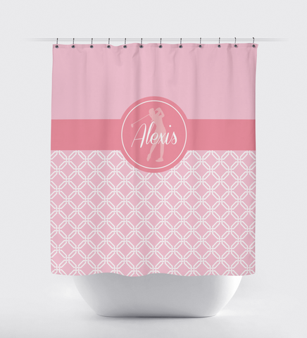 Golf Shower Curtain - Preppy Octagon Chain Pattern - Girls, Teens, Kids - Girls Golf Team Gift - Golf Themed Bathroom Decor for Female Golfers - White, Bubble Gum Pink, Light Pink