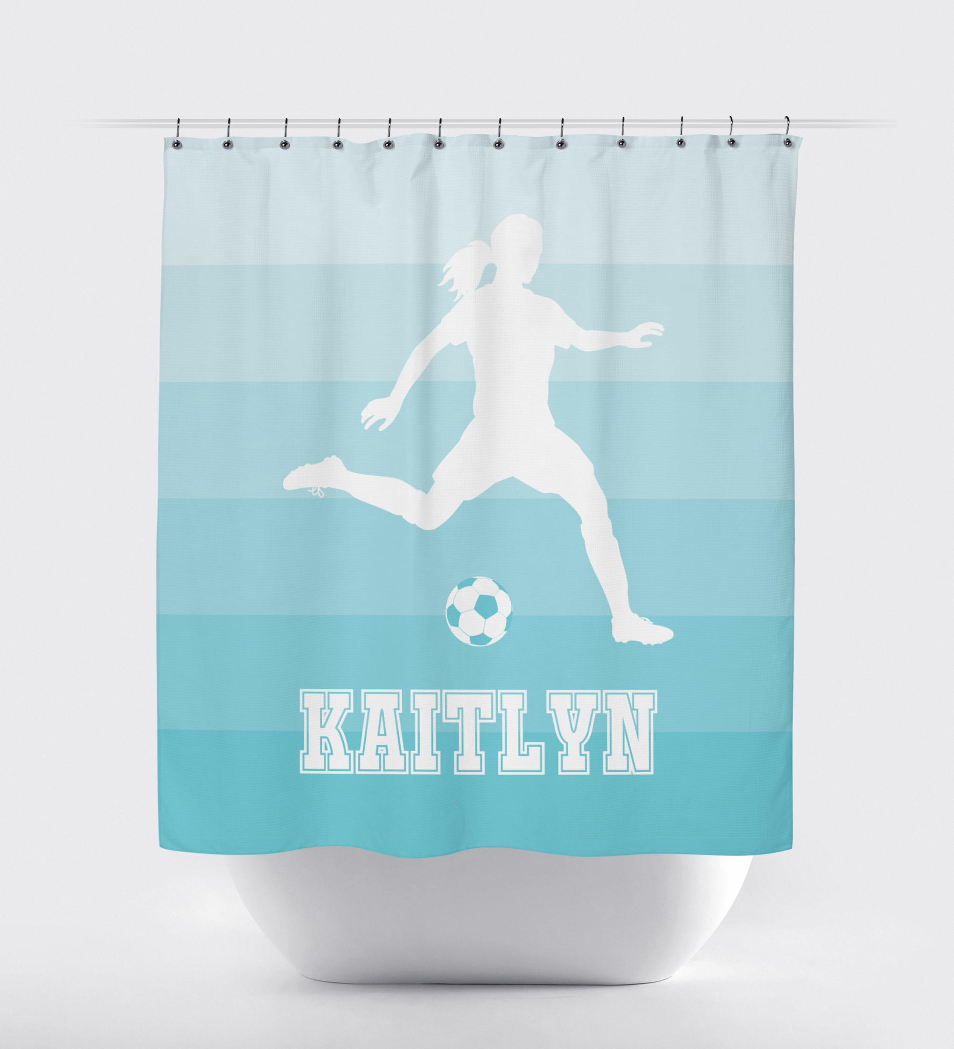 Light pink shower curtain -  Light Pink Ombr Striped Shower Curtain Soccer Player Girls Teens White Aqua