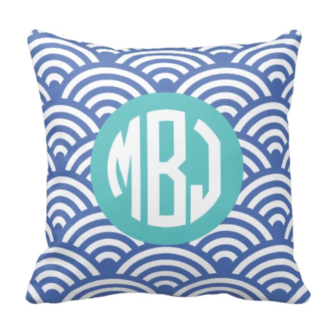 Scallop Patterned Throw Pillow with Circle Monogram for Girls - Swimmer - Swimming - Swim Team - Preppy Sports Gift for Teens and Kids - White, Periwinkle Blue, Pool