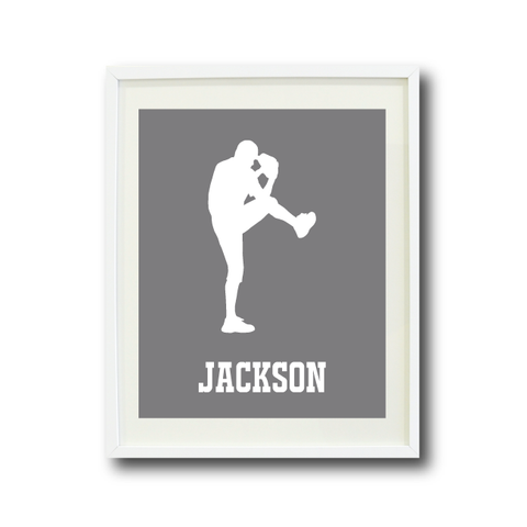 Custom Baseball Art Print for Boys - Monogrammed Name - Monogram - Baseball Player - Sports Team Gift for Teens - White and Grey