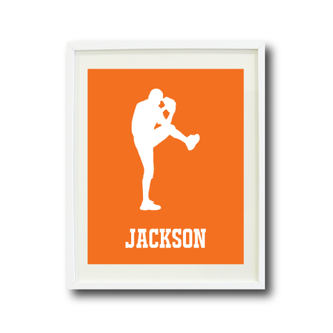 Custom Baseball Art Print for Boys - Monogrammed Name - Monogram - Baseball Player - Sports Team Gift for Teens - White and Carrot Orange