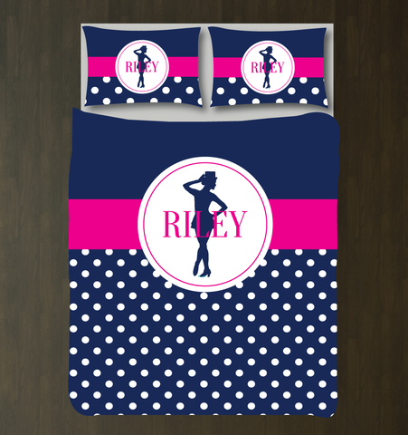 Custom Tam Dance Bedding Set with Polka Dots - Gift for Girls and Teen Dancers - Music Theatre Themed Bedroom Decor - White, Navy Blue, Hot Pink