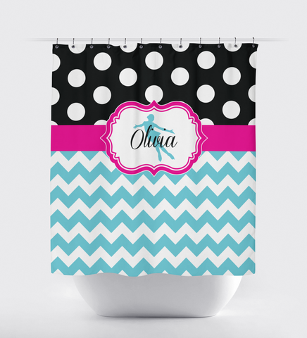 Custom Figure Skating Shower Curtain with Polka Dots and Chevron / Zig Zag Stripes - Custom Gift for Girls and Teens - Kids and Children - Personalized - Ice Dancing - Skater - Dancer - White, Black, Aqua, Hot Pink