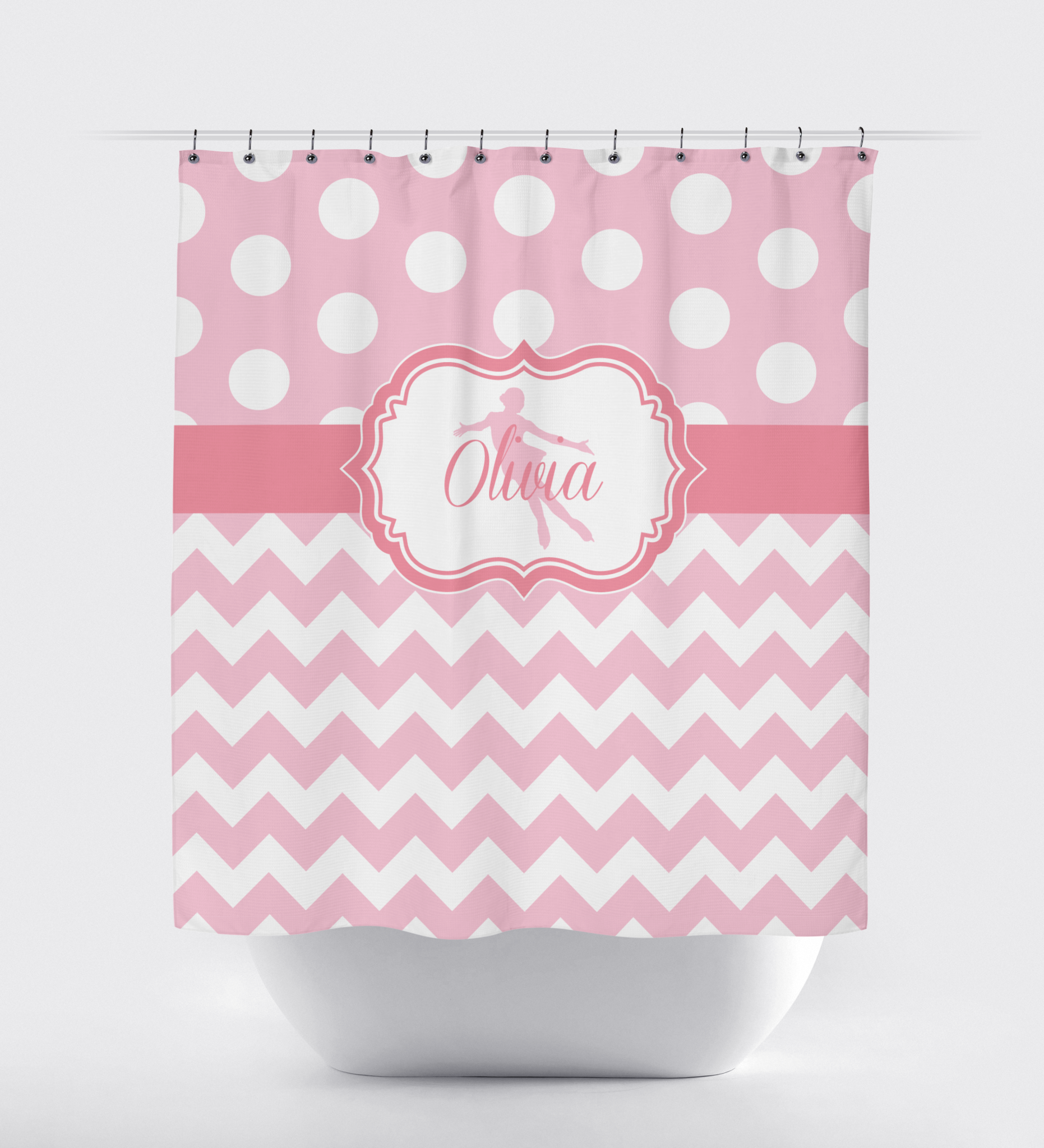 Light pink shower curtain -  Custom Figure Skating Shower Curtain With Polka Dots And Chevron Zig Zag Stripes Custom