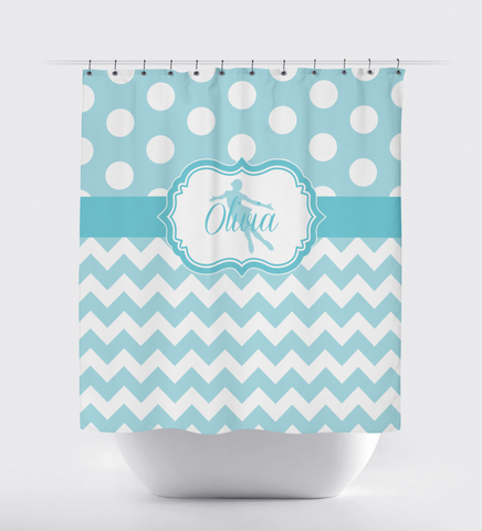 Custom Figure Skating Shower Curtain with Polka Dots and Chevron / Zig Zag Stripes - Custom Gift for Girls and Teens - Kids and Children - Personalized - Ice Dancing - Skater - Dancer - White, Aqua