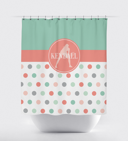 Polka Dot Tennis Shower Curtain With Monogrammed Name - Sports Gift for Girls - Female Tennis Player - Themed Bathroom - Coral, Grey Grayed Jade