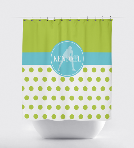 Polka Dot Tennis Shower Curtain With Monogrammed Name - Sports Gift for Girls - Female Tennis Player - Themed Bathroom - White, Bright Chartreuse and Aqua