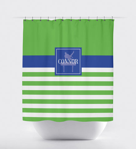 pommel horse shower curtain boys gymnastics male gymnast gift present home decor bathroom personalized monogrammed name custom white royal blue light green