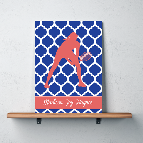 Quatrefoil Tennis Player Canvas Wall Art Print - Tennis Gift for Girls - Royal Blue and Cayenne