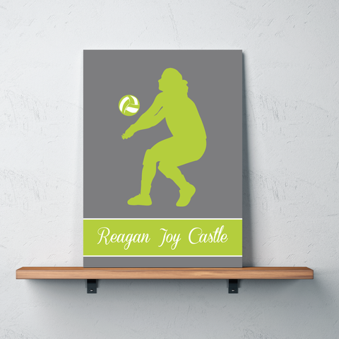 Volleyball Canvas - Silhouette and Monogrammed Name - Sports Gift for Girls - Grey and Lime Green