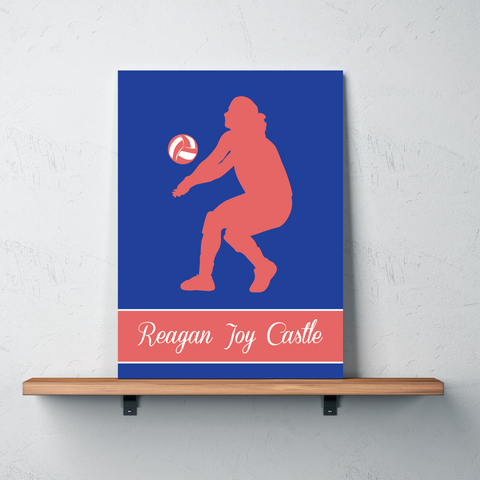 Volleyball Canvas - Silhouette and Monogrammed Name - Sports Gift for Girls - Royal Blue and Cayenne