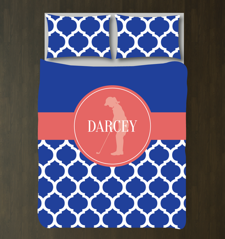 Custom Golf Bedding Set for Girls - Duvet Cover and Shams for Teens - Silhouette of Golfer - Quatrefoil Pattern - White, Royal Blue, Cayenne