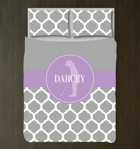 Custom Golf Bedding Set for Girls - Duvet Cover and Shams for Teens - Silhouette of Golfer - Quatrefoil Pattern - White, Grey, Lavender