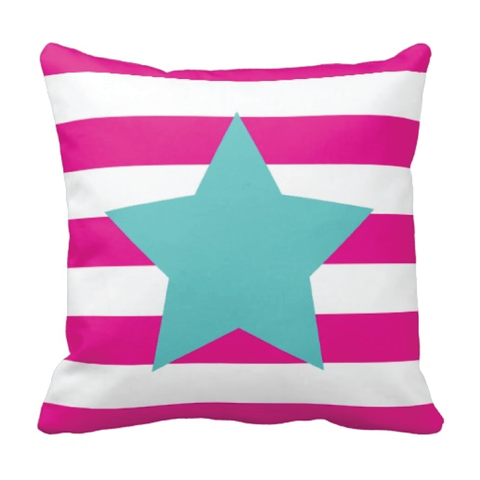 Star Throw Pillow with Rugby Stripes - Musicians, Performers, Dancers, Gymnasts, Cheerleaders - Girls, Teens, Kids, Children Bedding and Room Decor - White, Hot Pink, Pool