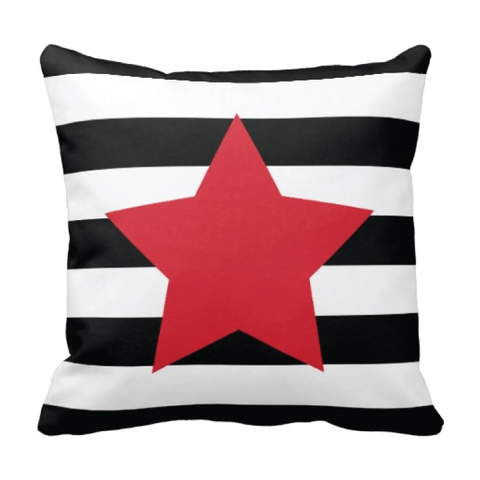 Star Throw Pillow with Rugby Stripes - Musicians, Performers, Dancers, Gymnasts, Cheerleaders - Girls, Teens, Kids, Children Bedding and Room Decor - White, Black, Red