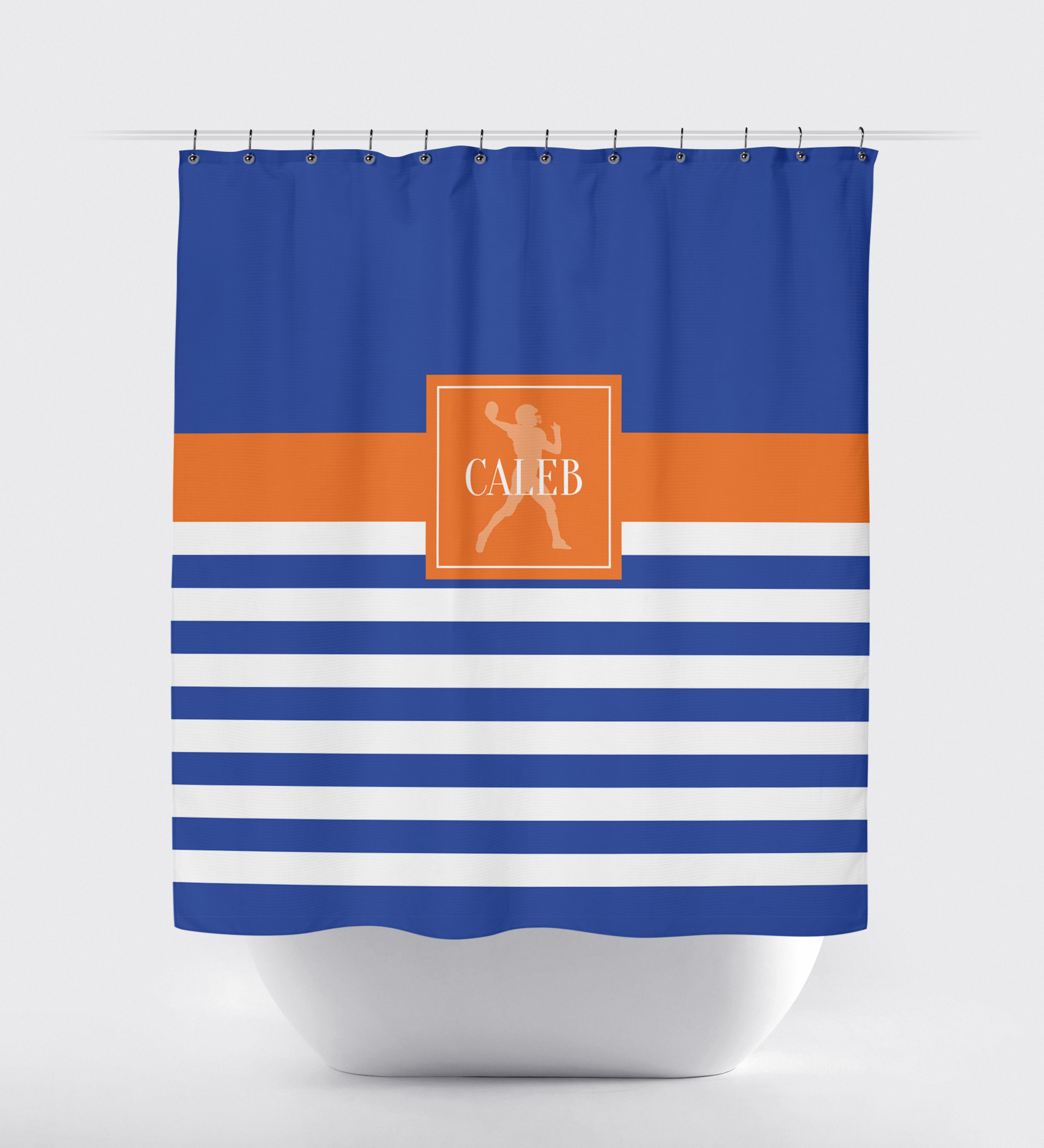 Custom Rugby Striped Football Shower Curtain – Shop Wunderkinds