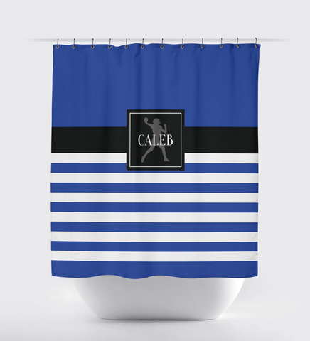 Custom Striped Football Shower Curtain - Sports Gift for Boys - Football Themed Bathroom Decor - Royal Blue, Black and White