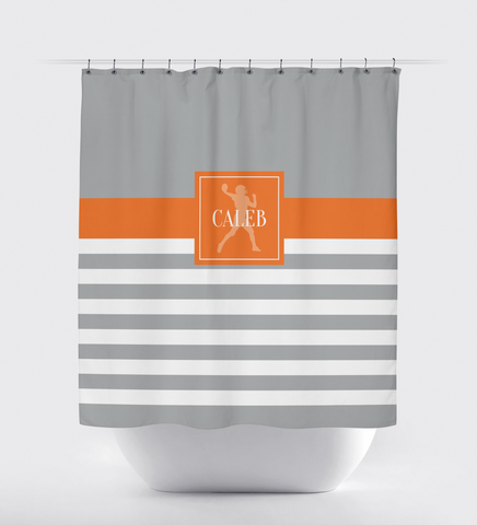 Custom Striped Football Shower Curtain - Sports Gift for Boys - Football Themed Bathroom Decor - Grey and Orange