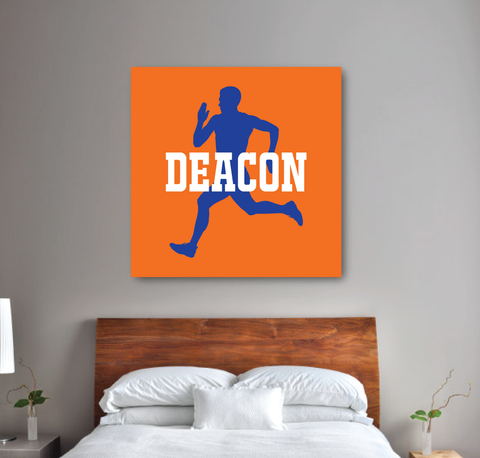 Personalized Runner Canvas with Silhouette and Name | Carrot Orange, Royal Blue, White | Choose ANY Colors