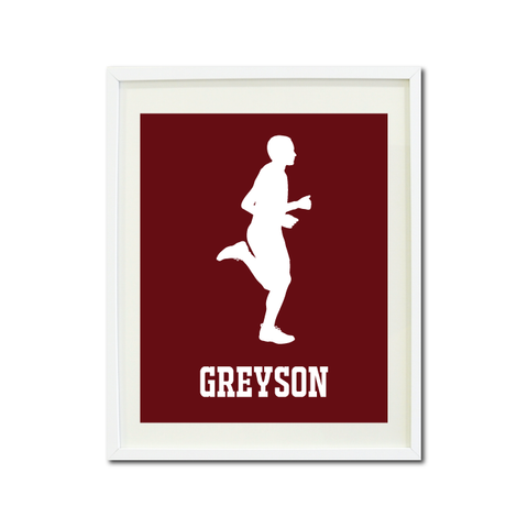 Runner Wall Art Print for Boys - Monogrammed Art Print for Teens - Running Sports Gift for Kids - White and Burgundy