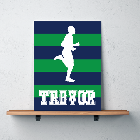Rugby Striped Gallery Wrapped Canvas for Runners - Personalized with Name - Running Bedroom Decor for Boys and Teens - Male - Men - Preppy College Dorm Room - Track and Field - Cross Country - Marathon - White, Navy Blue, Green