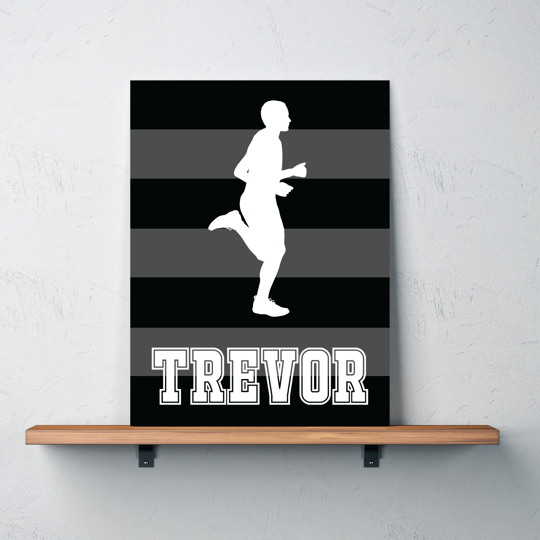 Personalized Bedroom Decor Runner Silhouette Canvas Personalized W Name Stripes Shop
