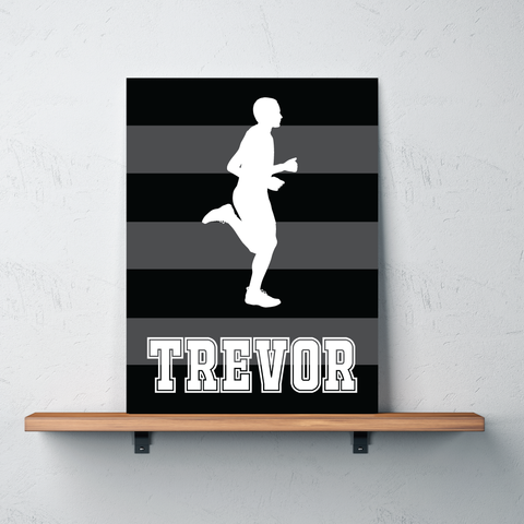 Rugby Striped Gallery Wrapped Canvas for Runners - Personalized with Name - Running Bedroom Decor for Boys and Teens - Male - Men - Preppy College Dorm Room - Track and Field - Cross Country - Marathon - White, Charcoal, Black