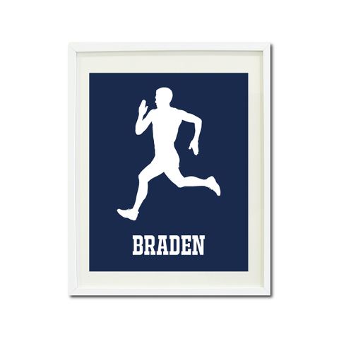 Runner Wall Art Print for Boys - Monogrammed Art Print for Teens - Running Sports Gift for Kids - White and Navy