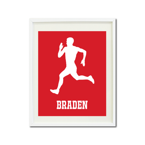 Runner Wall Art Print for Boys - Monogrammed Art Print for Teens - Running Sports Gift for Kids - White and Red