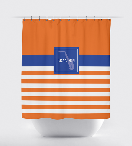 Musical Instrument Shower Curtain - Band - Orchestra Players - Music Themed - Alto Saxophone - Tenor - Stringed - Percussion - Brass - Woodwind - White, Carrot Orange, Royal Blue
