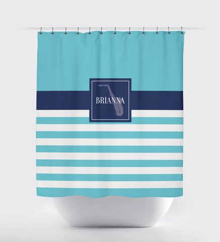 Musical Instrument Shower Curtain - Band - Orchestra Players - Music Themed - Alto Saxophone - Tenor - Stringed - Percussion - Brass - Woodwind - White, Aqua, Navy Blue