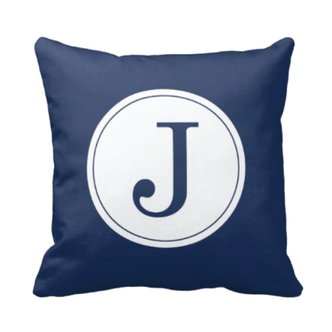 Single Initial Throw Pillow - Monogrammed With Boys or Girls Initial - Teen or Kids Bedroom Decor - White and Navy Blue