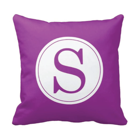 Single Initial Throw Pillow - Monogrammed With Boys or Girls Initial - Teen or Kids Bedroom Decor - White and Purple