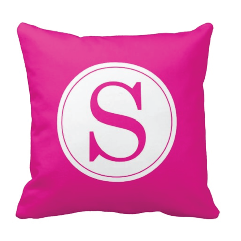Single Initial Throw Pillow - Monogrammed With Boys or Girls Initial - Teen or Kids Bedroom Decor - White and Hot Pink
