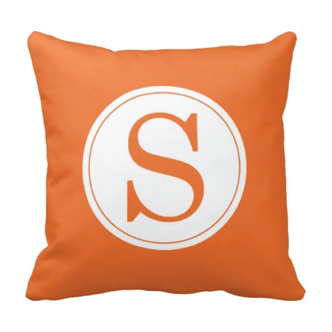 Single Initial Throw Pillow - Monogrammed With Boys or Girls Initial - Teen or Kids Bedroom Decor - White and Carrot Orange