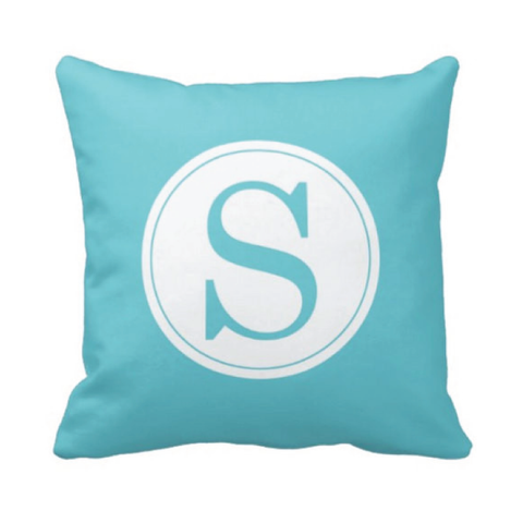 Single Initial Throw Pillow - Monogrammed With Boys or Girls Initial - Teen or Kids Bedroom Decor - White and Aqua Blue