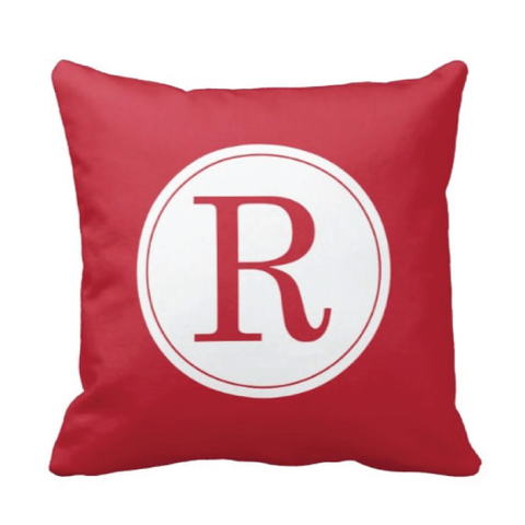 Single Initial Throw Pillow - Monogrammed With Boys or Girls Initial - Teen or Kids Bedroom Decor - White and Red