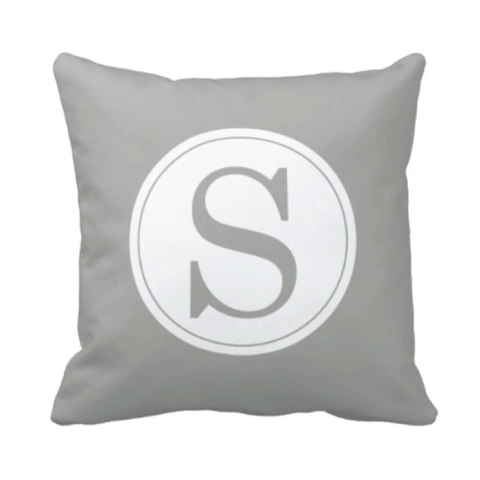 Single Initial Throw Pillow - Monogrammed With Boys or Girls Initial - Teen or Kids Bedroom Decor - White and Grey