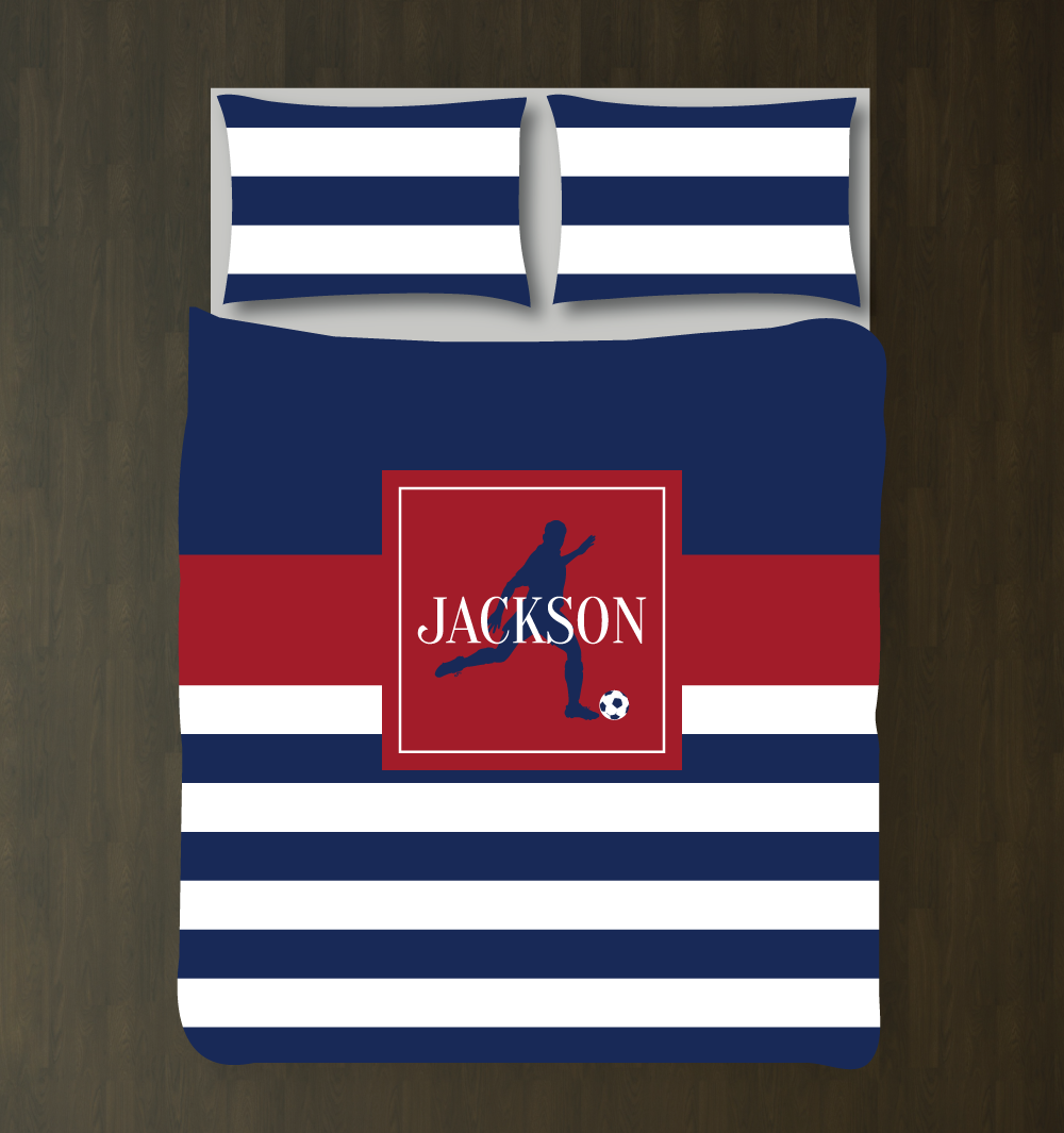 Soccer Player Bedding Set with Stripes | Duvet Cover and Shams | Navy and  Brick Red | Choose ANY Colors