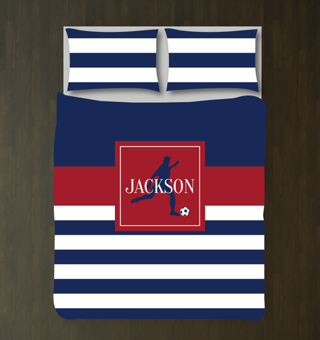 Soccer Player Duvet Cover - Custom Soccer Bedding for Boys Rooms - Brick Red and Navy Blue