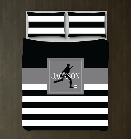 Soccer Player Duvet Cover - Custom Soccer Bedding for Boys Rooms - Black, Grey and White