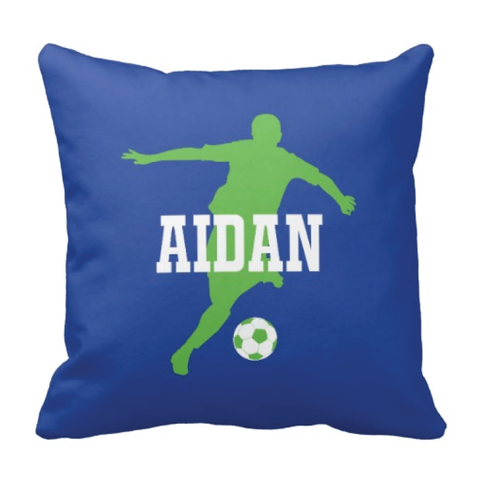 Custom Soccer Player Pillow for Boys - Silhouette and Monogrammed Name - Sports Gift for Kids and Teens - White, Royal Blue, Light Green