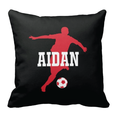Custom Soccer Player Pillow for Boys - Silhouette and Monogrammed Name - Sports Gift for Kids and Teens - White, Black and Red