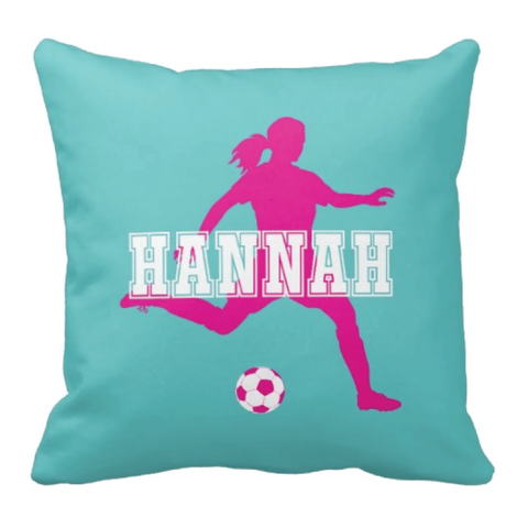 Custom Soccer Player Pillow for Girls - Silhouette and Monogrammed Name - Sports Gift for Kids and Teens - White, Pool, Hot Pink
