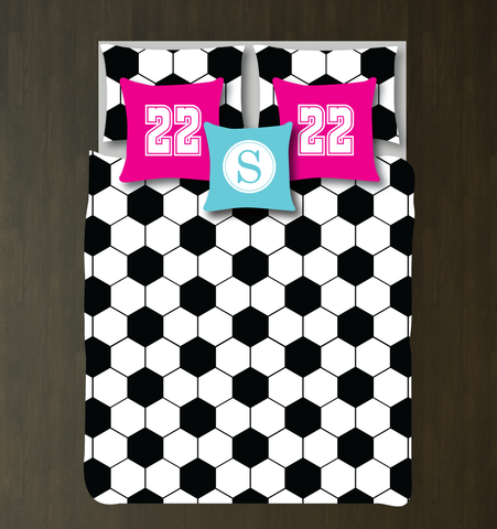 Hexagon Soccer Ball Bedding Set - Duvet Cover and Shams - Boys and Girls Bedroom Decor - Teen Soccer Players - Futbol - Football - White, Black, Hot Pink, Aqua