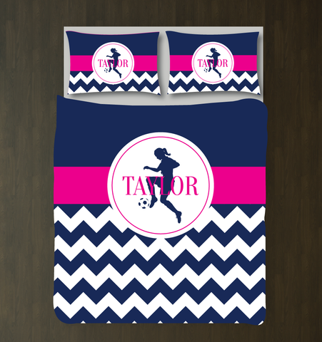 Chevron Striped Soccer Player Bedding Set for Girls - Duvet and Shams - Zig Zag - Custom Soccer Themed Bedding for Kids and Teens - White, Hot Pink, Navy Blue